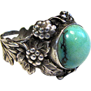 Ornate Arts & Crafts Sterling Faux Turquoise Ring Sz 8 3/4