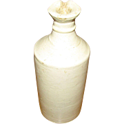 1890's, English Cream Stoneware Large Bulk Ink Bottle