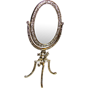 Darling Doll Gilt Cheval Dressing Mirror w/ Cherubs!