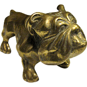 "Cast Brass 4"" Bulldog Figurine Paperweight"