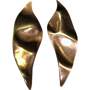 "Modernist Artisan 2 1/2"" Copper ""Leaf"" Earrings"