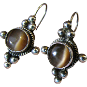 Sterling Brown Chrysoberyl Cats Eye Dangle Earrings, Mexico