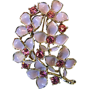 Sarah Coventry Gold-tone Pin w/ Pink Enamel & Rhinestone Flowers