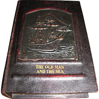 Vintage Secret Storage Book Box, Copper & Faux Leather Over Wood