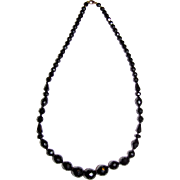 "Art Deco French Jet 24"" Necklace, Elegant Geometric Faceted Beads"