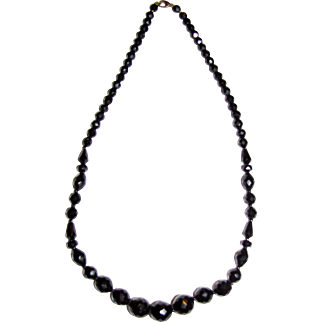 """Art Deco French Jet 24"""" Necklace, Elegant Geometric Faceted Beads"""