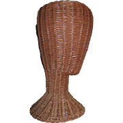1950's Wicker Mannequin Head Hat Display Stand
