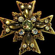Florenza Maltese Cross Brooch w/ AB, Topaz, & Amber Rhinestones