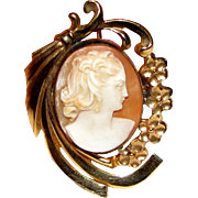 Art Deco Carved Shell Cameo Pin Pendant, Gold-Filled