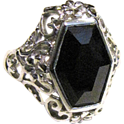 Sterling Filigree Onyx Ring, Size 8, Beautiful!