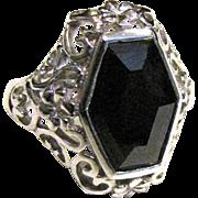 Sterling Filigree Onyx Ring, Size 8, Beautiful!