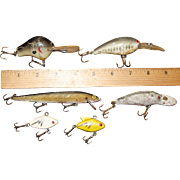 6 Vintage Bass Crankbait Lures,from 1 1/2 - 5Inches Long