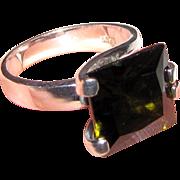 Modernist Sterling & Peridot CZ Ring, Size 8