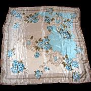 """Vera Studio 30"""" Sq Pure Silk Turquoise & Dove Gray Floral Scarf"""