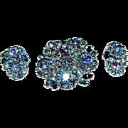 Icy Blue Rhinestone Signed Trifari Demi Parure