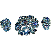 Icy Blue Rhinestone Signed Trifari Demi Parure