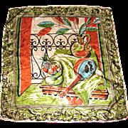 "1950's Carol Stanley 34"" Sq Silk Scarf, Wearable Art"