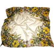 "1950's 32"" Sq Tissue Silk Scarf, Yellow Flowers!"