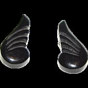Art Deco Black Bakelite Wing Clip Earrings, Period Classic!