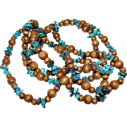 """52"""" Turquoise Chunk & Wooden Bead Necklace"""