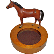Vintage Horse Motif Trinket Tray, Equestrian Collectible