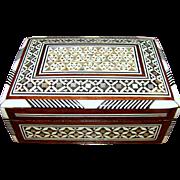 Vintage Moorish Marquetry Mosaic Wooden Trinket Box