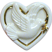 Lenox Porcelain Dove of Peace Pin, Cream w/ Gold Trim