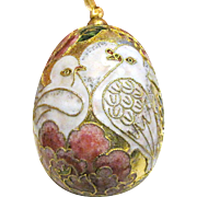 Gorgeous Cloisonne Dove Hanging Egg Ornament