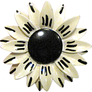 German Enameled Metal Flower in Black & White