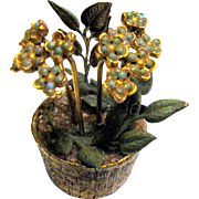 "Harris, RARE Tiny 2 1/4"" Tole Metal House Plant w/ Flowers"