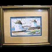 Harris, Small Framed Watercolor of Greek Windmill Scene