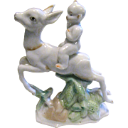 Art Deco Japanese Porcelain Figurine, Boy Riding Doe
