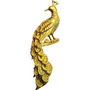 "Art Nouveau Style 3 1/4"" Matte Gold Peacock Pin"