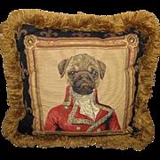 Borgata Belgium Tapestry Pug Dog Pillow, Lush Fringes!