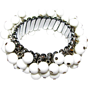 Vintage Japan White Bead Cha-cha Expansion Bracelet