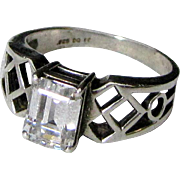 Modernist Sterling Faux Diamond CZ Engagement Style Ring Size 8