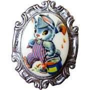 Cute Rabbit Vintage Silvertone Pin
