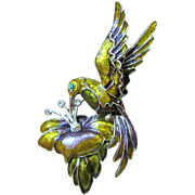 "3"" Enameled Hummingbird Pin w/ Rhinestone Accents"