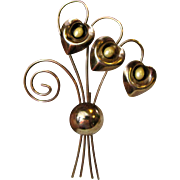 """Stylish 4 3/8"""" 1940's Floral Pin"""