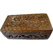 Hand Carved Folk Art Jewelry Box