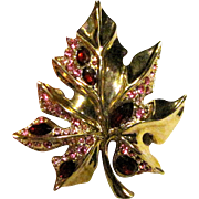 Pink & Red Rhinestone Gold-tone Leaf Pin