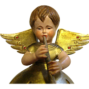 """Vintage Anri Carved Angel w/ Reuge Music Box Plays """"O Come All Ye Faithful"""""""