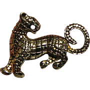 Striking Silver-tone Growling Panther Pin