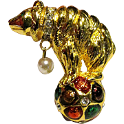 Amazing Circus Bear Pin w/ Enamel, Rhinestone & Glass Pearl Accents