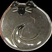 Fun Art Pottery Gray Cat Dish