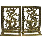 A Pair of Cast Brass Chinese Dragon Folding Bookends