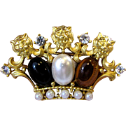 Tudor Style Crown Pin with Lion Heads