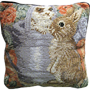Small Needlepoint Pillow, Peter Rabbit in Watering Can