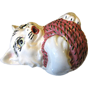 Cat w/ Ball of Wool Ceramic String Holder