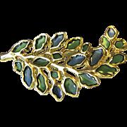 Vintage Plique a Jour Leaf Gold-tone Brooch